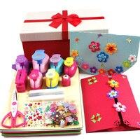 Crianças DIY handmade cartão de natal set flor máquina de impressão presente álbum DIY manual do material de jardim de infância dispositivo de gravação