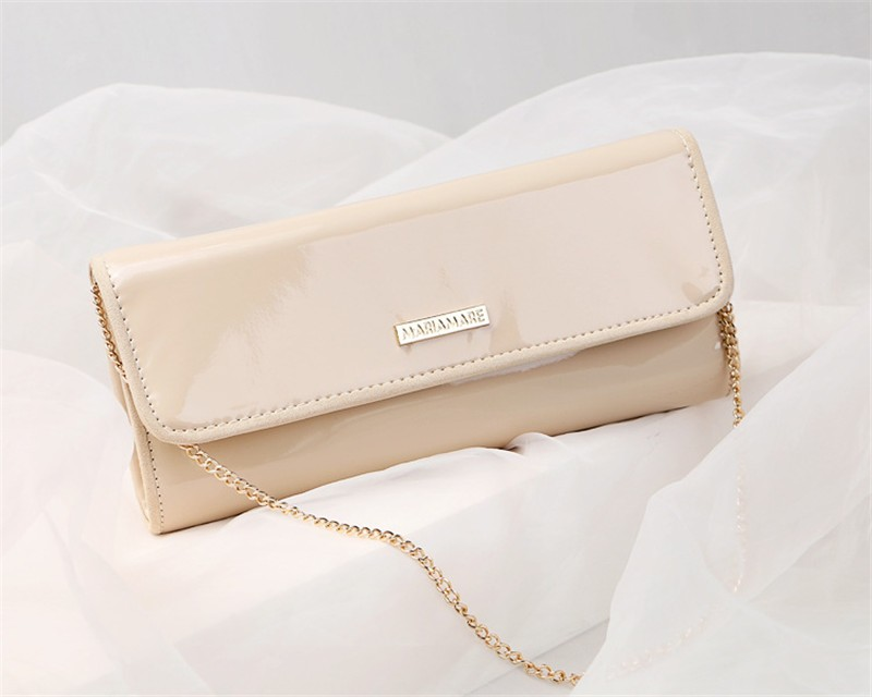 New Elegant Pure 3 Color Dinner Banquet Bag PU Leather High Quality Evening bag with chain HBF37 (5)