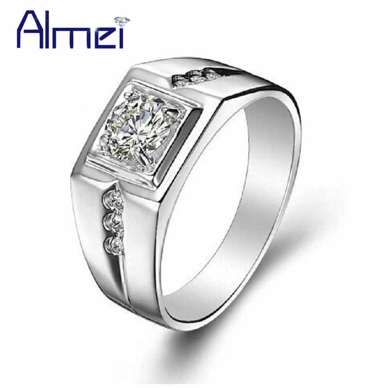 Almei Wedding Ring Men Fashion Crystal White Stones CZ Zircon Anillos Charms Rings Silver Punk Jewelry Anel Masculino J473