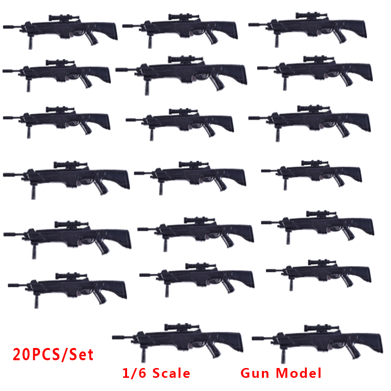 20PCS/Set 1/6 Scale Military Soldier Accessoires Model 4D Weapons Assembled Gun Model FN Scar Toy Fit 12 Inch Action Toys Figure 1 6 scale plastics united states assault rifle gun m16a1 military action figure soldier toys parts accessory