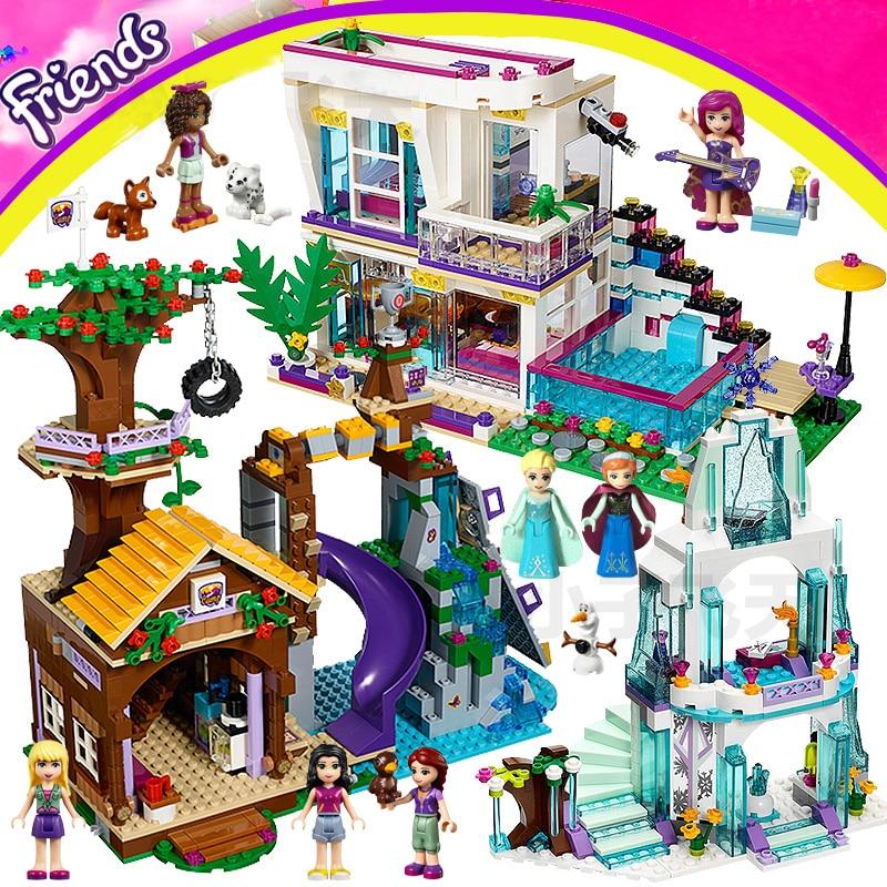 Girls Building Blocks Compatible Elves Dragon Windsor Princess Palace Elsa Ice Castle Friends for Girl Livi House Model Sets Toy in Blocks from Toys Hobbies
