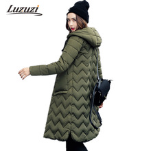 2017 Long Hooded Women Winter Coats Wave Style Winter Jackets Female Single Breasted Cotton Padded Parkas Wadded Jacket WS893