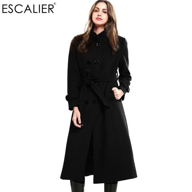 e0fc1934a1b9a ESCALIER New Design Vogue Winter Women Coat Black Wool Coat With Big Fur  Collar Warm Outerwear Overcoat With Belt Free Shipping