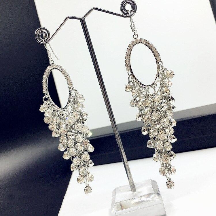 Ajojewel Bohemian Style European Luxury Long Earrings Heavy Crystal Rhinestone Tassel Earrings For Women Wedding Jewelry Party
