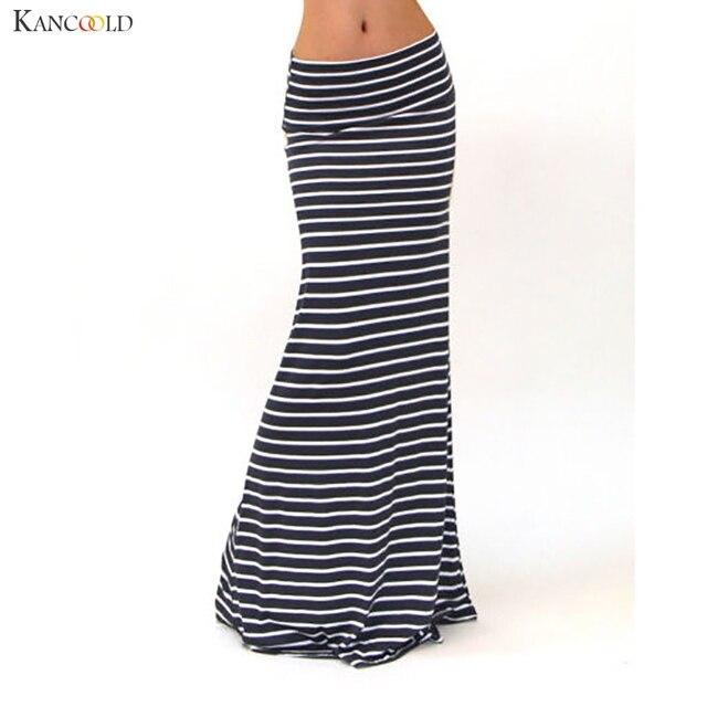 8d7db9b9e4af Black White Striped Women Skirt Elegant Asymmetric High Waist Fold Over  Stretch Floor Length Empire Maxi Skirts Juun21