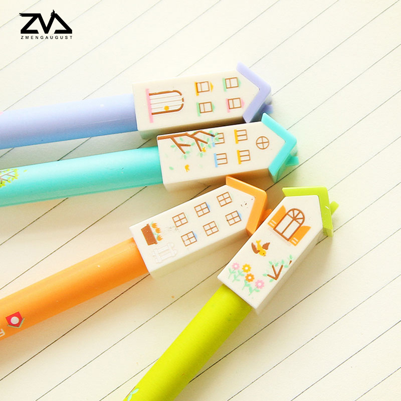 4pcs/lot Cute small house neutral pen Kawaii stationery 0.38mm gel pens students office escolar canetas material