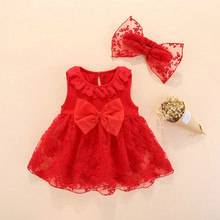 bb324431f359 2019 summer baby girl dress with headband 0 3 months cotton red white new  born baby
