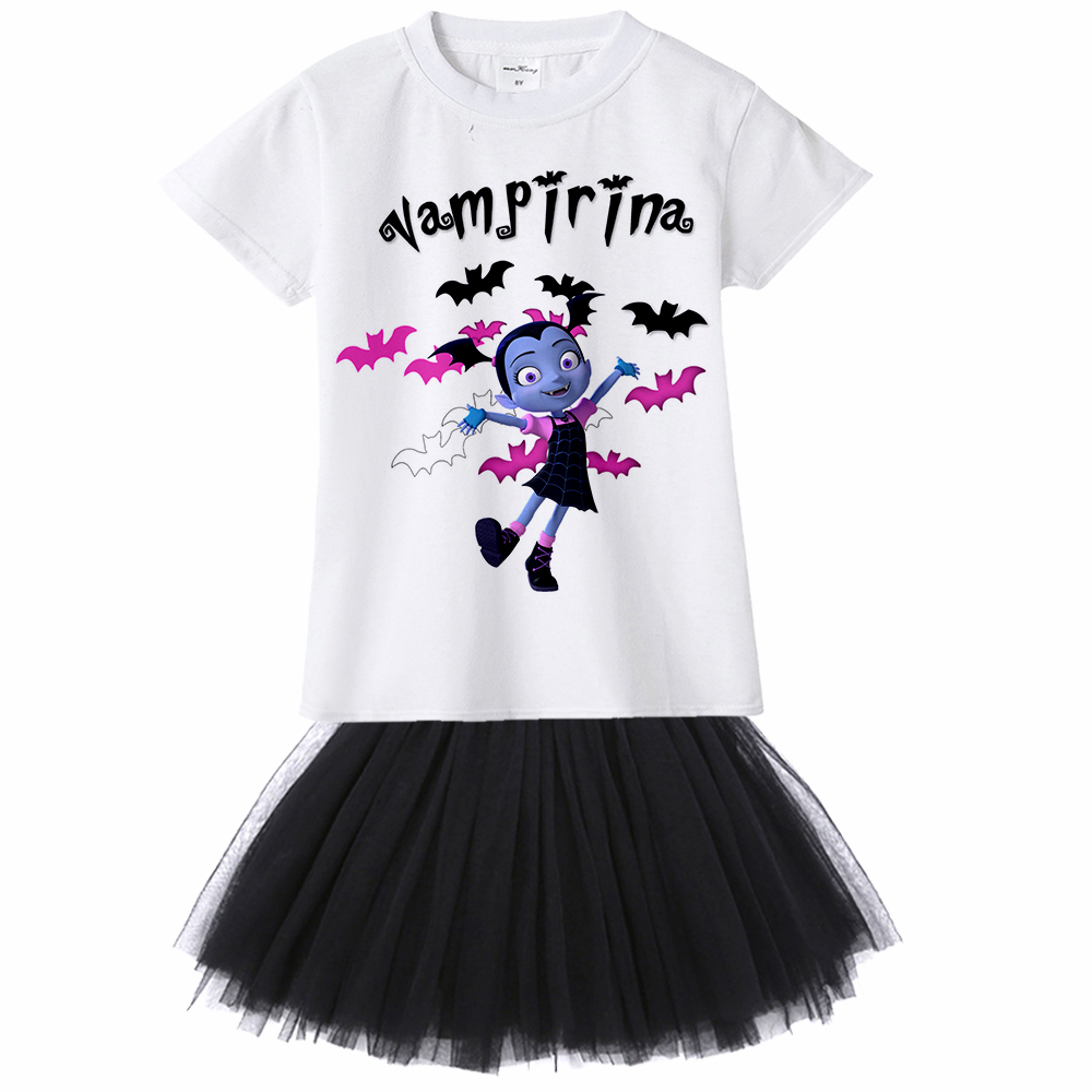 1-12 years old teens todder baby infant casual summer dress cartoon Vampirina T-Shirts+Net Veil Dress kids Vampire 2Pcs clothes