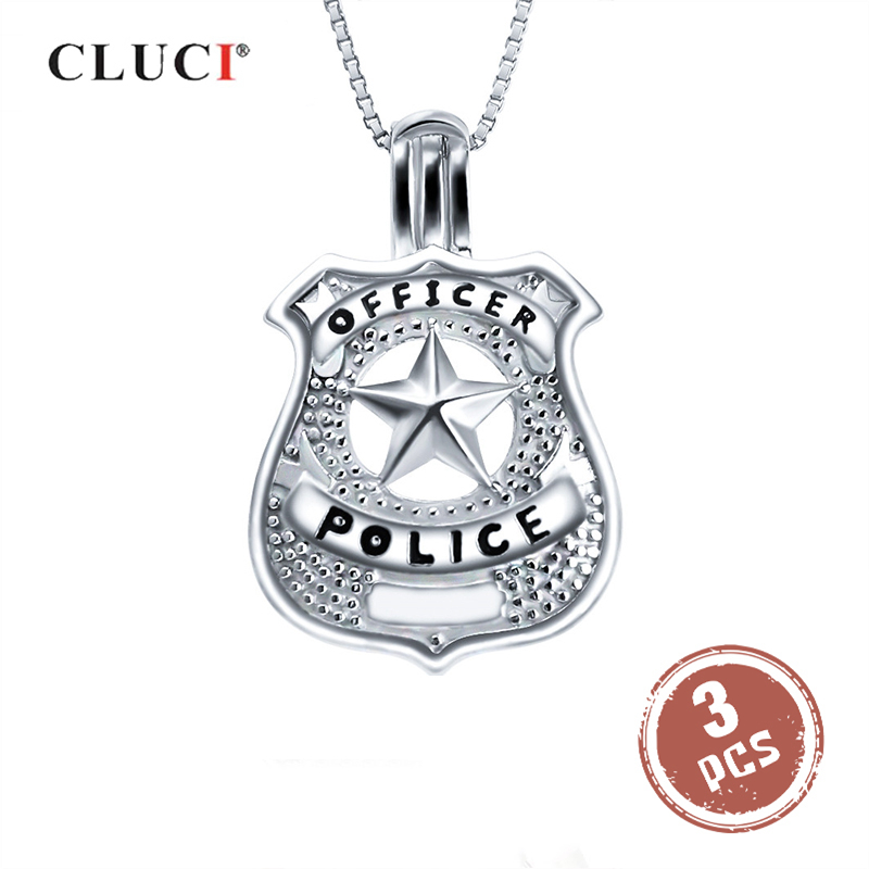 CLUCI 3pcs Resl Silver 925 Sterling Cage Pendant For Pearl Jewelry Making Pendant US Police Star Shape Silver 925 Cage Pendants