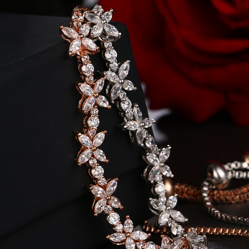 High Quality Romantic CZ Jewelry Leaf And Flower Marquise Cubic Zirconia Bridal Wedding Bracelets Gifts For Bridesmaid B-064