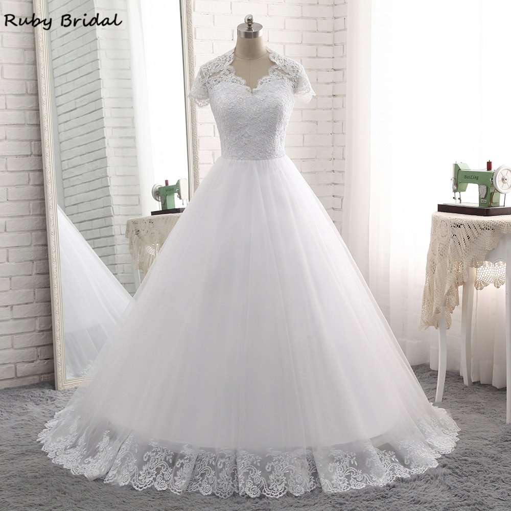 Ruby Bridal Vintage Long A line Wedding Dresses Princess White Tulle Appliques Short Sleeves Bridal Gowns