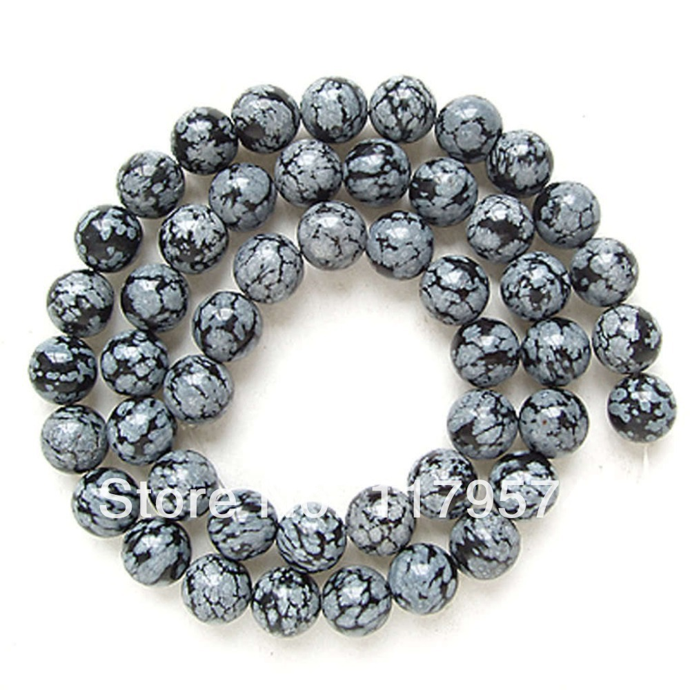 Acrylic clear ornaments - Free Shipping Wholesale And Retail New Product 8mm Natural Japan Snowflake Obsidian Round Loose Beads 15 Wj332