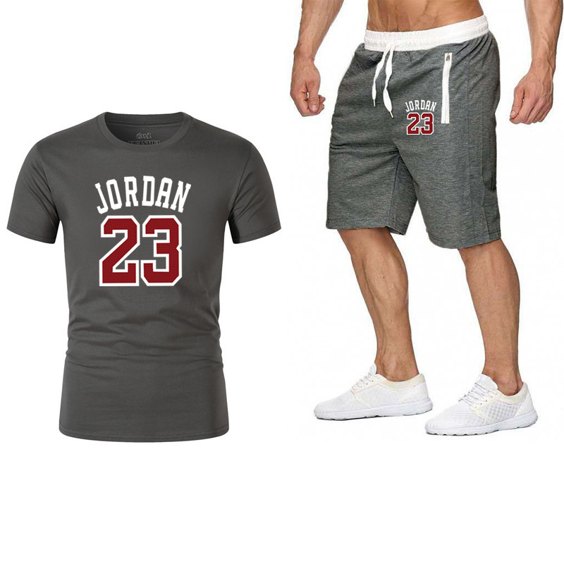 Tracksuit Men Shorts Summer Casual 23 JORDAN Men's Sportswear Suit Shorts Brand Clothing Two Pieces Top Tee+Shorts Sweat Suits