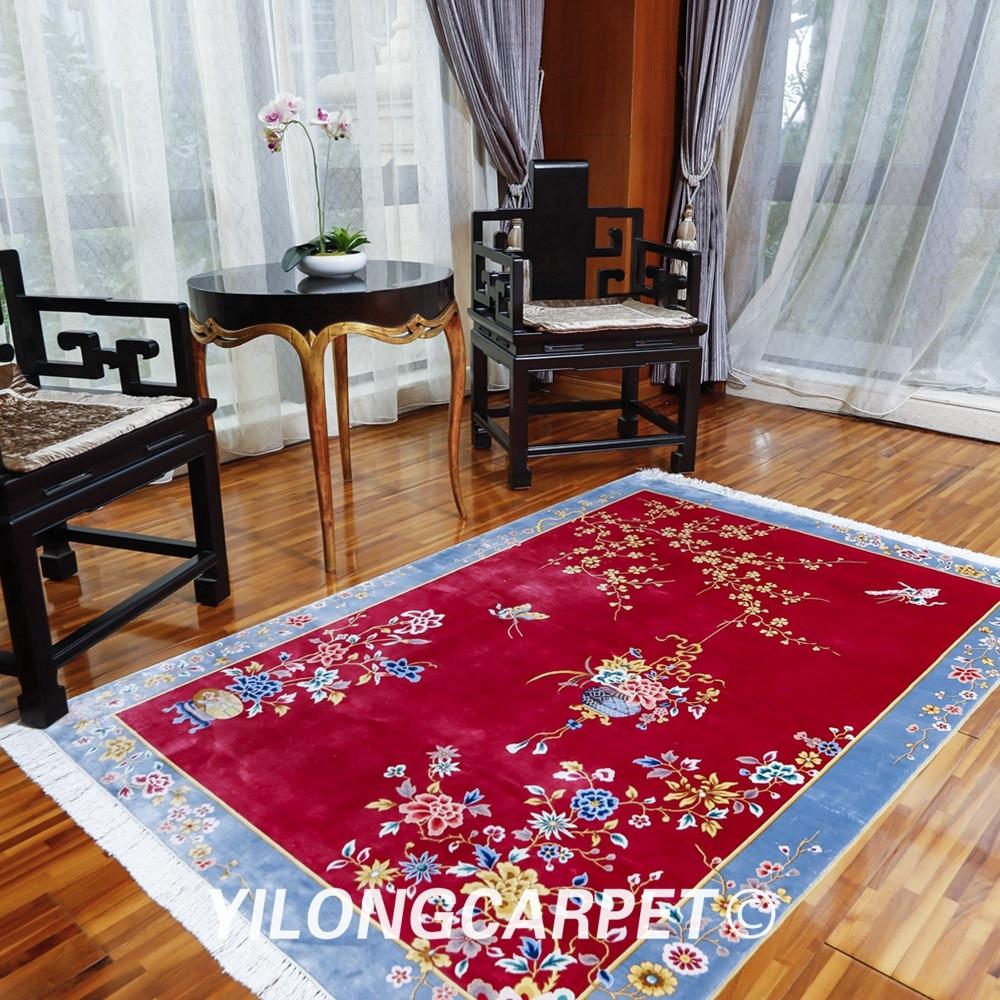 YILONG 4'x6' роскошный красный китайский книги по искусству деко шелковый ковер ручной работы семья номер области ковры