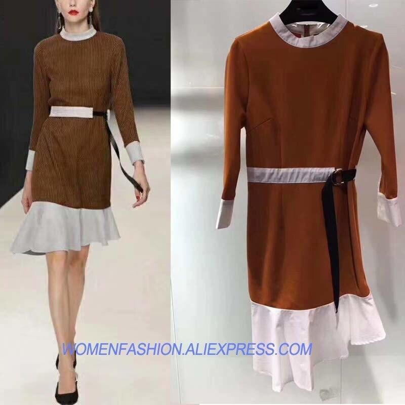 Robe 2018 mode robe mince famale oodji robes de catwalk pour les femmes vestido très bonne texture bureau trem robe élégante