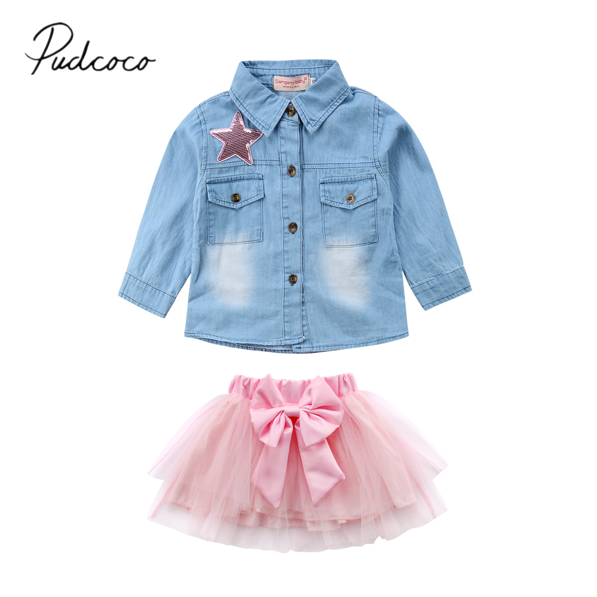 2018 Brand New Toddler Infant Child Kids Baby Girl Outfit Clothes Jeans Denim Shirt+ Bow Tutu Tulle Skirt 2Pcs Sets Clothes 1-6T new born baby girl clothes leopard 3pcs suit rompers tutu skirt dress headband hat fashion kids infant clothing sets