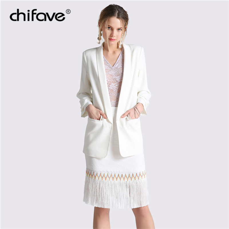 2018 chifave Casual Spring Thin Slim Jackets For Women Office Lady Coats Fashion Cuff Folds Womans Solid Black White Outwear