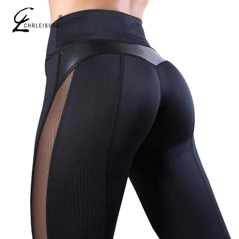 CHRLEISURE Sólidos Cintura Alta Coração Treino de Fitness Legging Mulheres Leggins Femme Moda Malha E PU de Retalhos De Couro Leggings