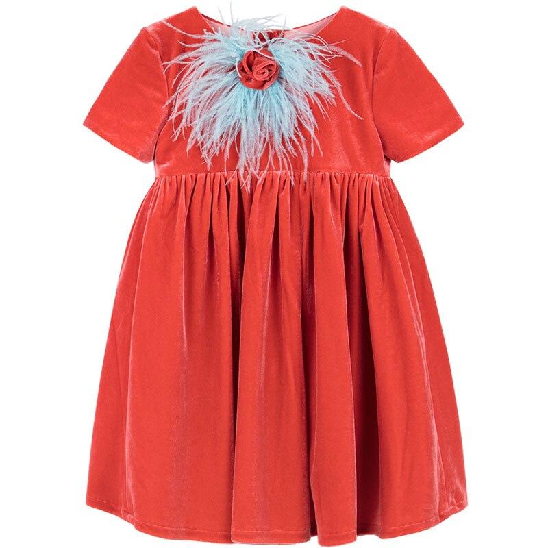 Baby Girls Gold Velvet Dress Orange Ostrich Wool Handmade