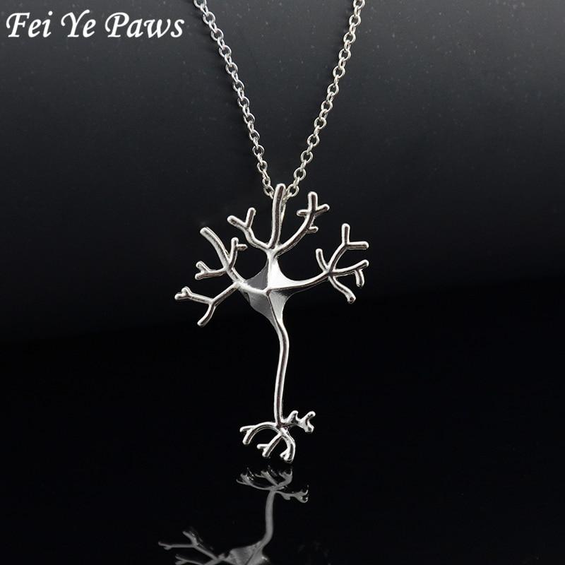 Fei Ye Pfoten Wissenschaft Schmuck Neuron Gehirn Nervenzelle Anhänger Halskette Elegante Aussage Halsketten Für Frauen Weihnachtsgeschenk Liebhaber