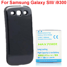 Для Galaxy SIII 4500 мАч Extended Аккумуляторная Батарея + Черный Задняя крышка чехол Для Samsung Galaxy S 3 III S3 i9300 Бесплатная Доставка