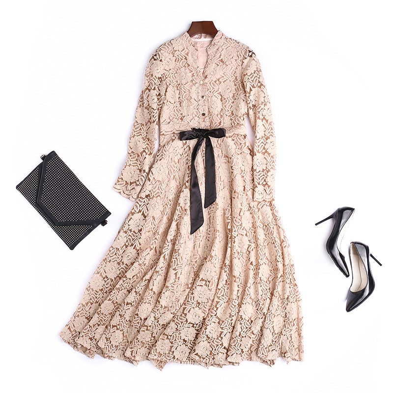 Women Hollow Out Floral Lace Long Dress Long Sleeve V Neck