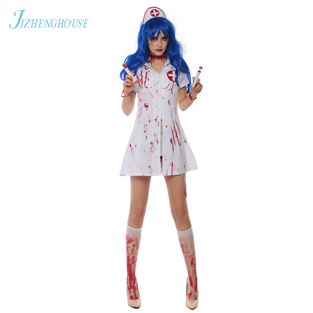 JIZHENGHOUSE Halloween Zombie Costumes For Women Blood Nurse Costumes Horrible Nurse Cosplay