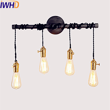 IWHD Water Pipe Vintage Wall Lamp Dinning Room Edison LED Stair Light Loft Industrial Wall Sconce Retro Wandlampen IWHD Water Pipe Vintage Wall Lamp Dinning Room Edison LED Stair Light Loft Industrial Wall Sconce Retro Wandlampen