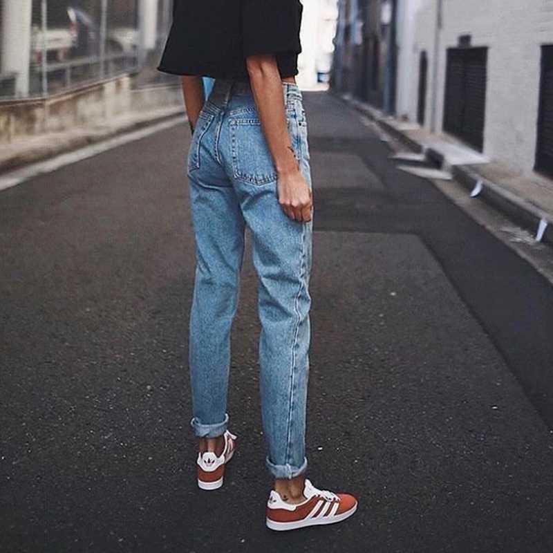 Pantalones vaqueros Mom de cintura alta para mujer, pantalones vaqueros  Boyfriend Vintage Negro Azul, pantalones vaqueros para mujer, Pantalones  rectos de talla grande 2020|Pantalones vaqueros| - AliExpress