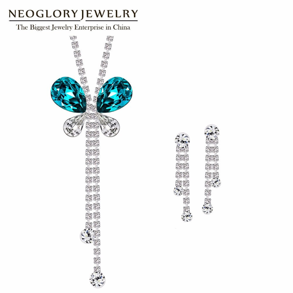 Neoglory Jewelry-Set Bridesmaid Earrings Necklace Crystal Rhinestone Vintage Austria