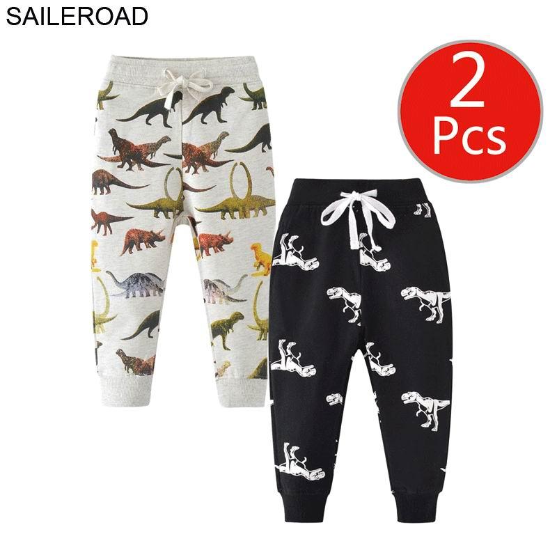 SAILEROAD 2pcs Dinosaur Pants Kids Boys Pants for Boys Animal Print Children's Pants for Baby Clothes 7Years Kids Sweatpants 2