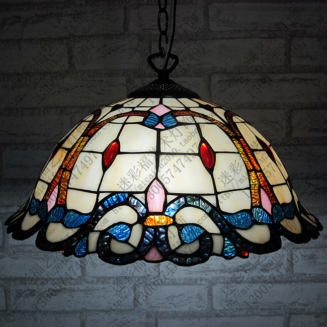 16inch Tiffany Baroque Stained Glass Suspended Luminaire E27 110-240V Chain Pendant lights for Home Parlor Dining Room16inch Tiffany Baroque Stained Glass Suspended Luminaire E27 110-240V Chain Pendant lights for Home Parlor Dining Room