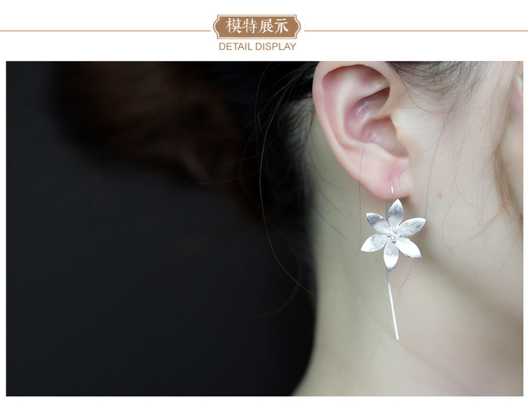 Real 925 Sterling Silver Long Lotus Flower Earrings for Women Girs Fashion sterling-silver-jewelry Pendientes