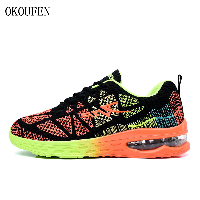 OKOUFEN men s running shoes women s sports sneakers breathable mesh athletic walking shoes size 35