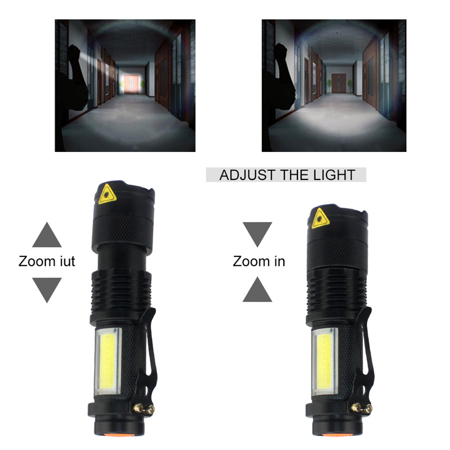 Image 3 - 3800LM XML Q5+COB Portable Ultra Bright Handheld LED Flashlight with Adjustable Focus ZOOM Mini Torch Use AA 14500 Battery-in LED Flashlights from Lights & Lighting