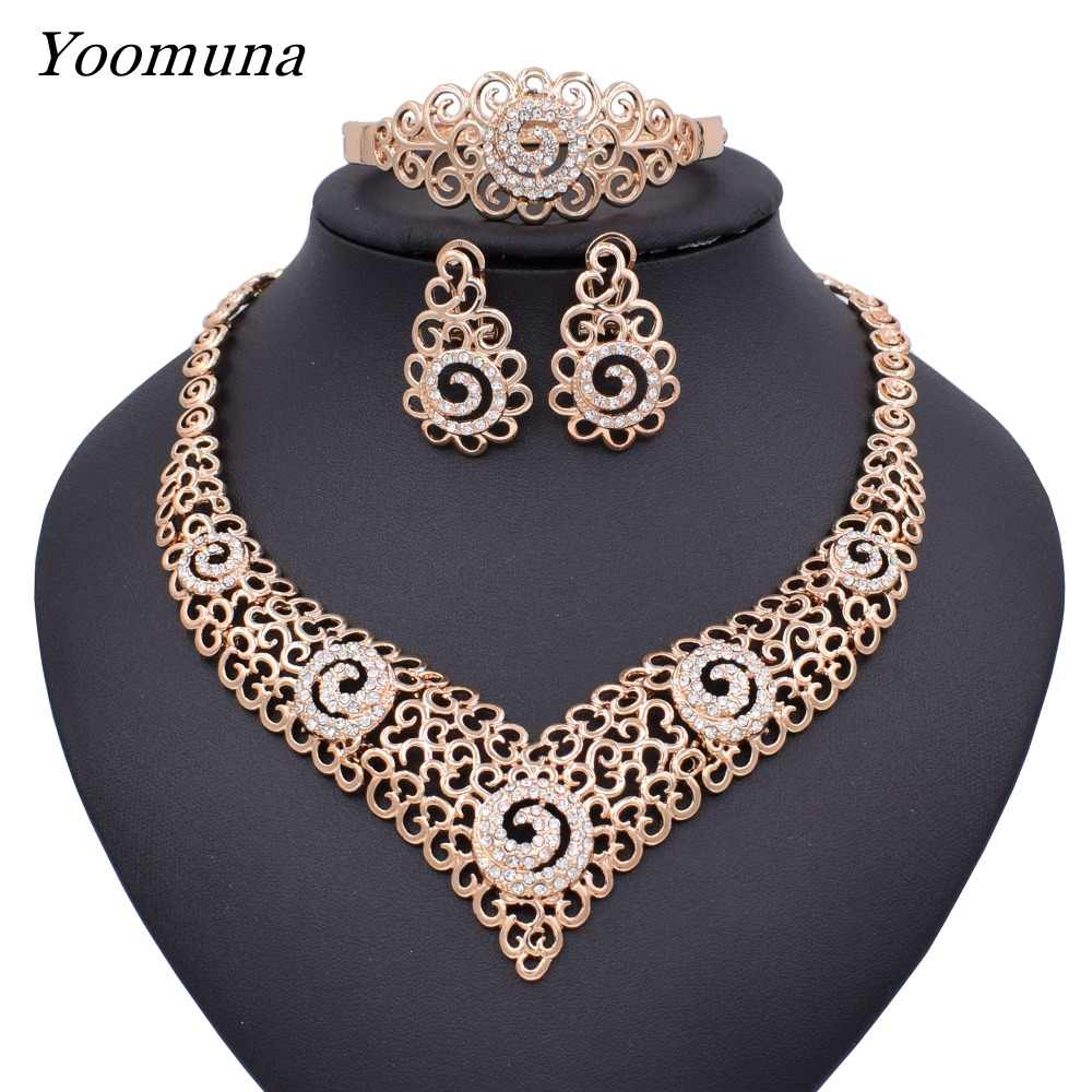 2019 New Dubai Gold Jewelry Set Women's Necklace Africa Bead Jewelry Set Birthday Gift Party Luxury Bride Jewelry Set  s3