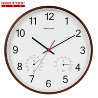 12 inch Classic Wooden Wall   Clocks   Silent Quartz Watch with Thermometer Hygrometer Humidity Non Ticking for Living Room Office