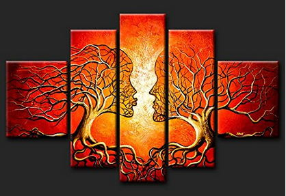 Free shipping handpainted oil painting abstract figure lovers tree landscape paintings canvas 5 pieces unframed wall art