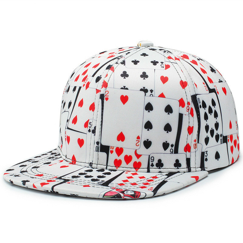 Win or Lose Hip Hop Flat Bill Snapback Printed Poker   Baseball     Cap   6 Panel Curved Visor White Black Two Design