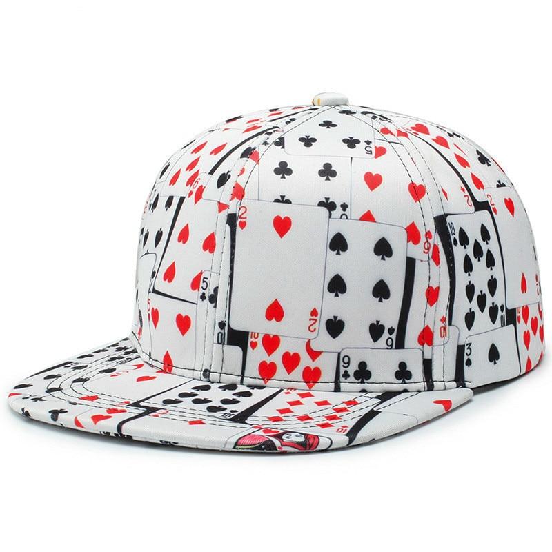 Win or Lose Hip Hop Flat Bill Snapback Printed Poker   Baseball     Cap   6 Panel Curved Visor White Black Two Design