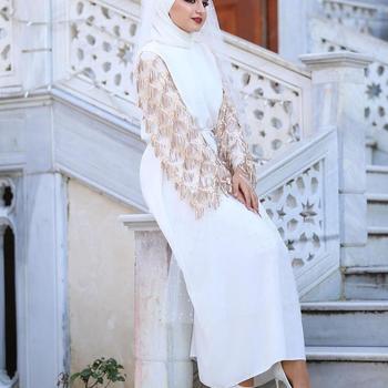 Abaya Tassels Muslim Maxi Dress Cardigan Long Robe Gowns Kimono Eid Ramadan Islamic  1