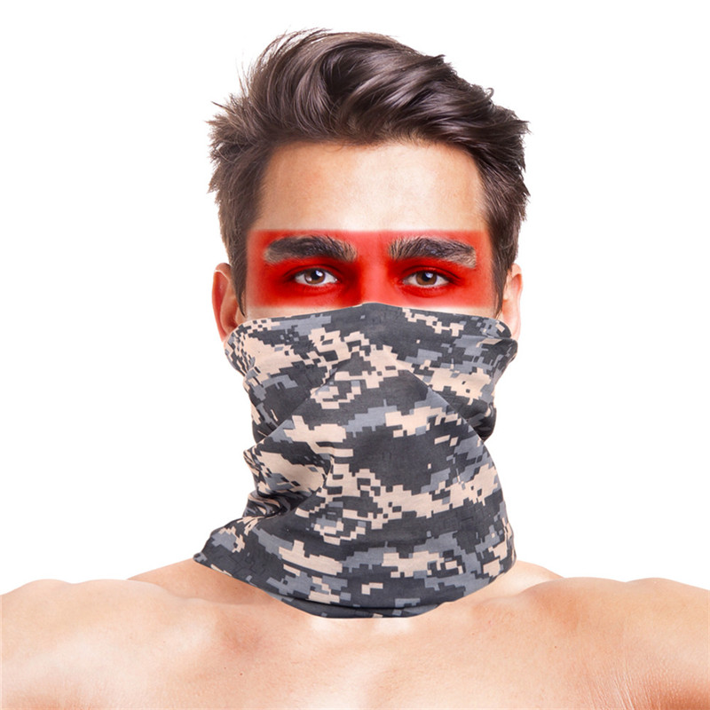 Digital Camo Stage Dance Wear Accessories Scarf Men Women Polyester Anti Wind Dust UV Bandana Neck Warmer Face Mask Hijab Scarf