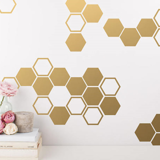 Attractive Gold Honeycomb Wall Decals Hexagon Vinyl Wall Decals Honey Comb Vinyl Gold  Wall Decor For Gifts