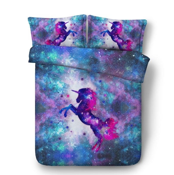 3d unicorn bedding set with stars luxury quilt duvet cover bed in a bag sheet linen california. Black Bedroom Furniture Sets. Home Design Ideas