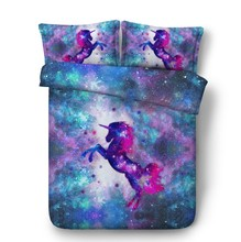 3D Unicorn Bedding set with Stars Luxury quilt duvet cover bed in a bag sheet linen California King Queen size twin double 4PCS