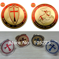 20pcs/lot Free Shipping Gold Clad 1OZ Templar Knight Poor Knight of Christ and Templar Of Solomon Famous Gift Coins