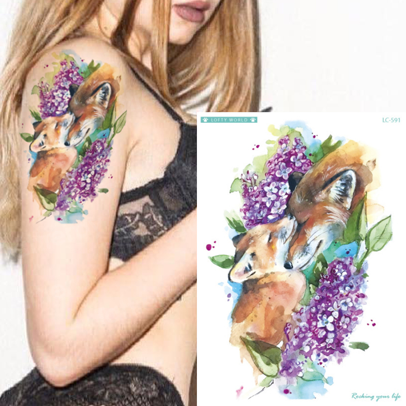 New Designs 1 Piece Fox Flower Body Tattoo Temporary Waterproof Watercolor Henna Animals DIY Art Tattoo Sticker Unicorn Horse
