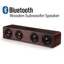 Высокая мощность древесины беспроводной Bluetooth 4.2 спикер Портативные Компьютерные колонки 3D Громкоговорители для ТВ домашний кинотеатр Sound Bar AUX