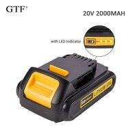 20v 2.0a 2000mah recarregável li-ion bateria de substituição portátil bateria de backup para dewalt elétrica ferramenta elétrica