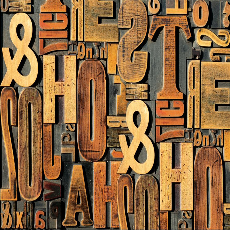 3D solid wood carving English alphabet TV background wall professional production wallpaper mural custom poster photo wall in Wallpapers from Home Improvement